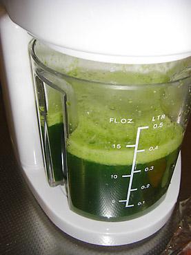 毎朝、採れたて有機野菜をジューサーで絞った青汁を飲む習慣